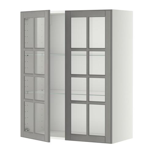 МЕТОД Навесной шкаф с полками/2 стекл дв - белый, Будбин серый, 80x100 см