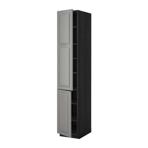 МЕТОД Высокий шкаф с полками/2 дверцы - 40x60x220 см, Будбин серый, под дерево черный