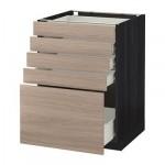 MÉTODO gabinete / Base FORVARA con cajones 5 - gris claro 60x60 cm Brokhult nuez efecto, madera negro