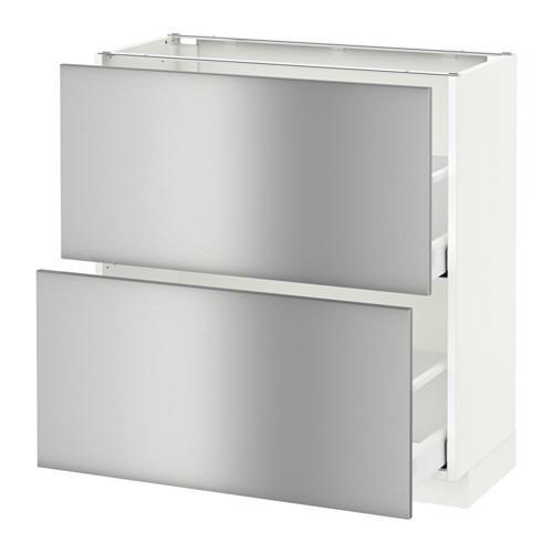 МЕТОД / МАКСИМЕРА Напольный шкаф с 2 ящиками - 80x37 см, Гревста нержавеющ сталь, белый