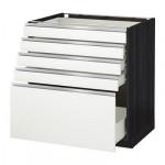 МЕТОД / ФОРВАРА Напольный шкаф с 5 ящиками - 80x60 см, Нодста белый/алюминий, под дерево черный