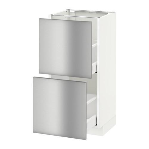 МЕТОД / МАКСИМЕРА Напольный шкаф с 2 ящиками - 40x37 см, Гревста нержавеющ сталь, белый