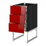 МЕТОД / МАКСИМЕРА Нплн шк 3 фрнт/3 средн ящика - 40x60x60 см, Рингульт глянцевый красный, под дерево черный