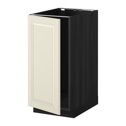 МЕТОД Наполный шкаф д/мойки/мусорн конт - Будбин белый с оттенком, под дерево черный