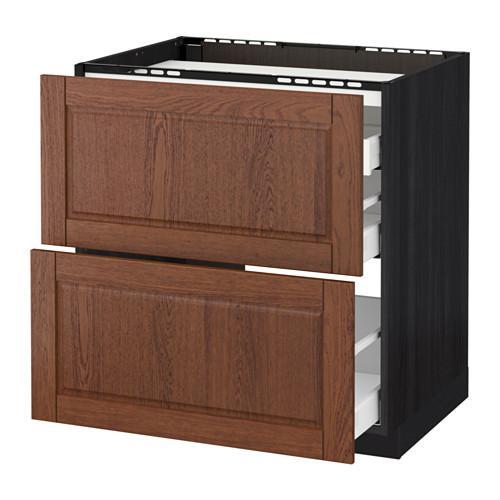 МЕТОД / МАКСИМЕРА Напольн шкаф/2 фронт пнл/3 ящика - 80x60 см, Филипстад коричневый, под дерево черный