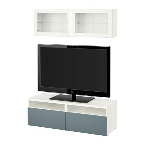 besto tv schrank kombiniert glast ren wei valviken grau t rkis transparentes glas. Black Bedroom Furniture Sets. Home Design Ideas
