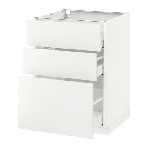 МЕТОД / МАКСИМЕРА Напольный шкаф с 3 ящиками - 60x60 см, Хэггеби белый, белый