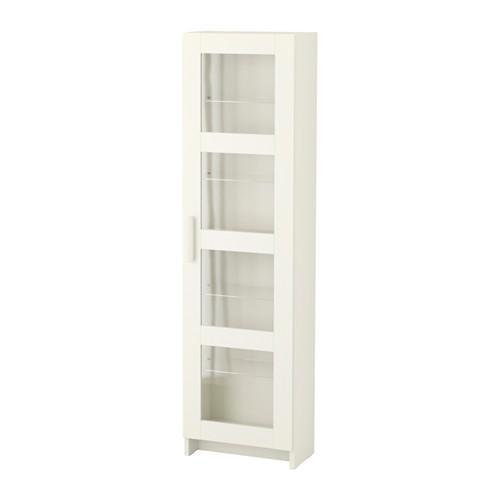 БРИМНЭС Высок шкаф со стеклянн дверьми - белый
