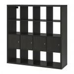 KALLAX стеллаж с 4 вставками черно-коричневый 147x39x147 cm