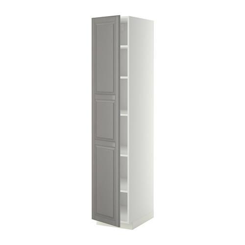 МЕТОД Высок шкаф с полками - 40x60x200 см, Будбин серый, белый