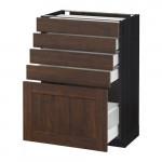 МЕТОД / МАКСИМЕРА Напольный шкаф с 5 ящиками - 60x37 см, Эдсерум под дерево коричневый, под дерево черный