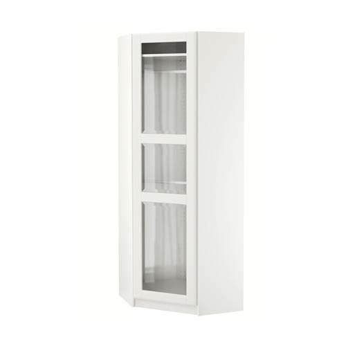 PAX Kleiderschrank Ecke - Tissedal weiß / Glas, weiß, 73 / 73x201 cm ...