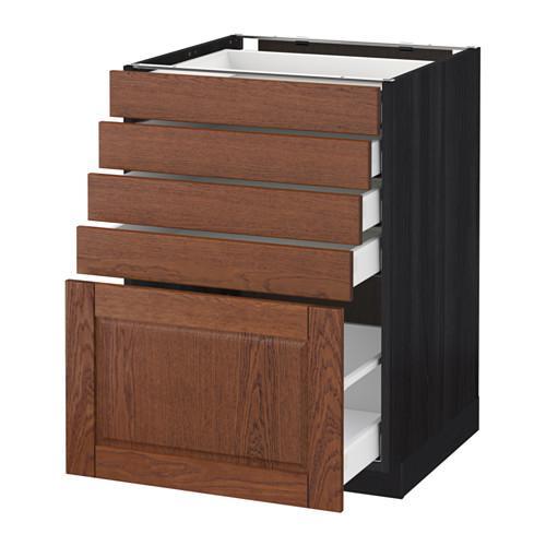 МЕТОД / МАКСИМЕРА Напольный шкаф с 5 ящиками - 60x60 см, Филипстад коричневый, под дерево черный