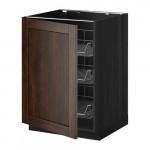 МЕТОД Напольный шкаф с проволочн ящиками - 60x60 см, Эдсерум под дерево коричневый, под дерево черный