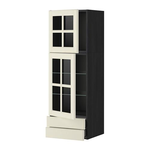 МЕТОД / МАКСИМЕРА Навесной шкаф/2 стек дв/2 ящика - 40x120 см, Будбин белый с оттенком, под дерево черный