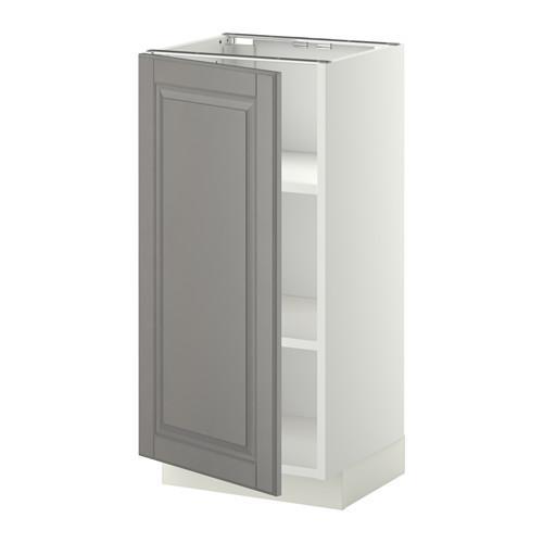МЕТОД Напольный шкаф с полками - 40x37 см, Будбин серый, белый