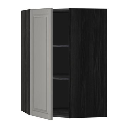 МЕТОД Угловой навесной шкаф с полками - 68x100 см, Будбин серый, под дерево черный