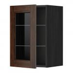 МЕТОД Навесной шкаф с полками/стекл дв - 40x60 см, Эдсерум под дерево коричневый, под дерево черный