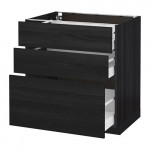 МЕТОД / МАКСИМЕРА Напольный шкаф с 3 ящиками - 80x60 см, Тингсрид под дерево черный, под дерево черный