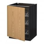 МЕТОД Напольный шкаф с проволочн ящиками - 60x60 см, Экестад дуб, под дерево черный
