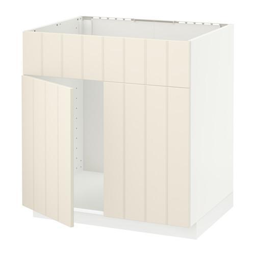 МЕТОД Напольн шкаф п-мойку 2 двр/фрн пнл - Хитарп белый с оттенком, белый