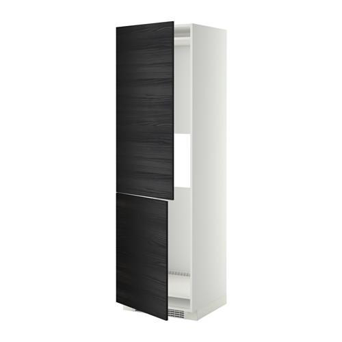 МЕТОД Выс шкаф д/холодильн или морозильн - 60x60x200 см, Тингсрид под дерево черный, белый