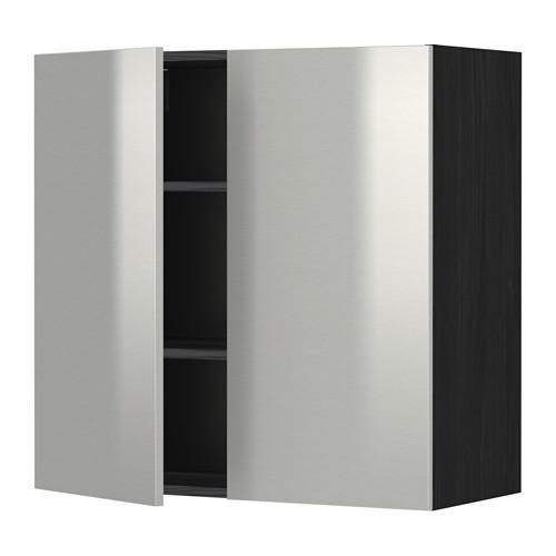 МЕТОД Навесной шкаф с полками/2дверцы - 80x80 см, Гревста нержавеющ сталь, под дерево черный