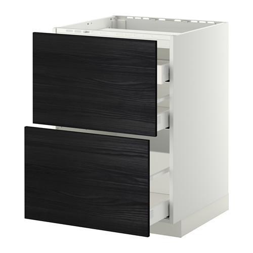 МЕТОД / МАКСИМЕРА Напольн шкаф/2 фронт пнл/3 ящика - 60x60 см, Тингсрид под дерево черный, белый