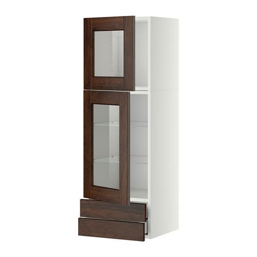 МЕТОД / МАКСИМЕРА Навесной шкаф/2 стек дв/2 ящика - 40x120 см, Эдсерум под дерево коричневый, белый