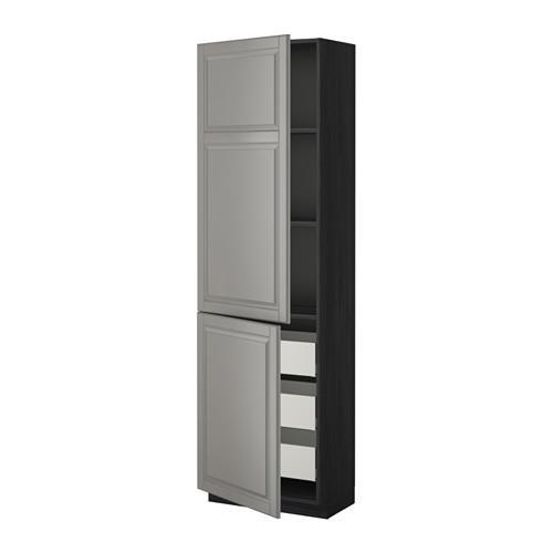 МЕТОД / МАКСИМЕРА Высокий шкаф+полки/3 ящика/2 дверцы - под дерево черный, Будбин серый, 60x37x200 см