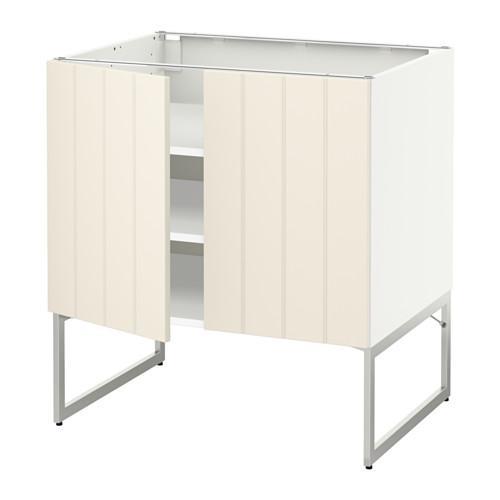 МЕТОД Напол шкаф с полками/2двери - 80x60x60 см, Хитарп белый с оттенком, белый