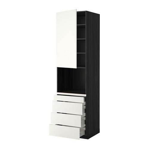 МЕТОД / МАКСИМЕРА Высокий шкаф д/комбинир СВЧ/4 ящика - 60x60x220 см, Хэггеби белый, под дерево черный