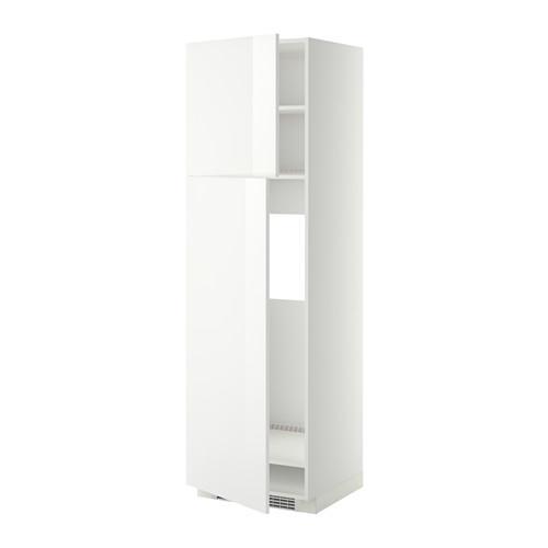 МЕТОД Высокий шкаф д/холодильника/2дверцы - 60x60x200 см, Рингульт глянцевый белый, белый