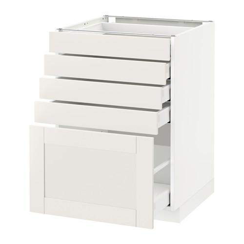 МЕТОД / МАКСИМЕРА Напольный шкаф с 5 ящиками - 60x60 см, Сэведаль белый, белый
