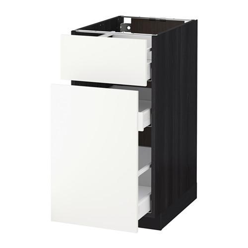 МЕТОД / МАКСИМЕРА Напольн шкаф/выдвижн секц/ящик - 40x60 см, Хэггеби белый, под дерево черный