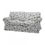 ЭКТОРП Чехол на 2-местный диван-кровать - Ховби белый/черный