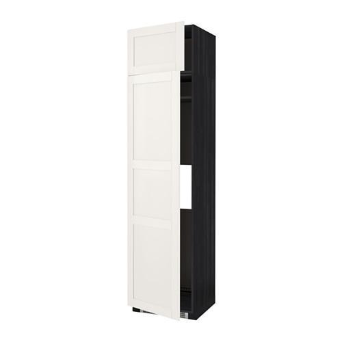 МЕТОД Выс шкаф д/холодильн или морозильн - 60x60x240 см, Сэведаль белый, под дерево черный