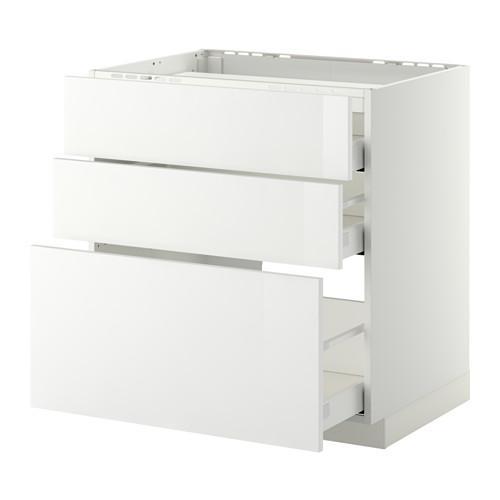 МЕТОД / МАКСИМЕРА Напольн шкаф/3фронт пнл/3ящика - 80x60 см, Рингульт глянцевый белый, белый