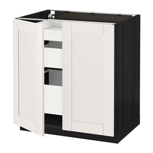 МЕТОД / МАКСИМЕРА Напольный шкаф с 2дверцами/3ящиками - Сэведаль белый, под дерево черный