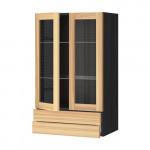 МЕТОД / МАКСИМЕРА Навесной шкаф/2 стек дв/2 ящика - под дерево черный, Торхэмн естественный ясень, 60x100 см