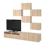 БЕСТО Шкаф для ТВ, комбинация - Лаппвикен под беленый дуб, направляющие ящика, плавно закр