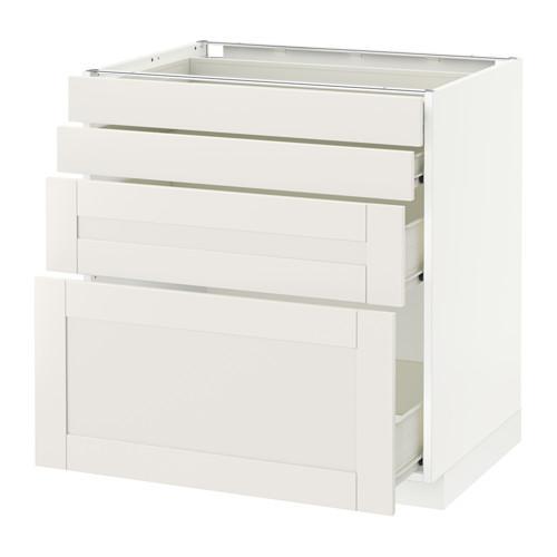VERFAHREN / FORVARA Unterschrank Frontplatte 4 / 4 Schublade - weiß, weiß Sevedal, 80x60 cm