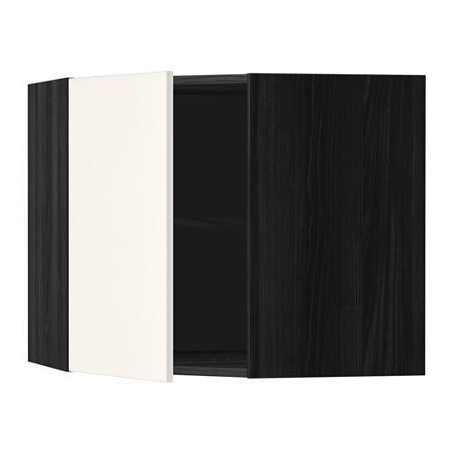 МЕТОД Угловой навесной шкаф с полками - 68x60 см, Веддинге белый, под дерево черный