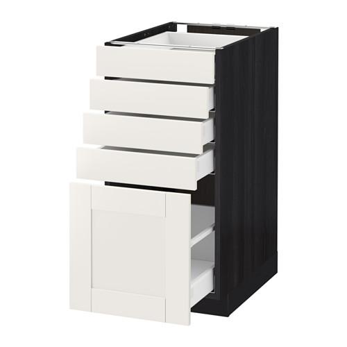 МЕТОД / МАКСИМЕРА Напольный шкаф с 5 ящиками - 40x60 см, Сэведаль белый, под дерево черный
