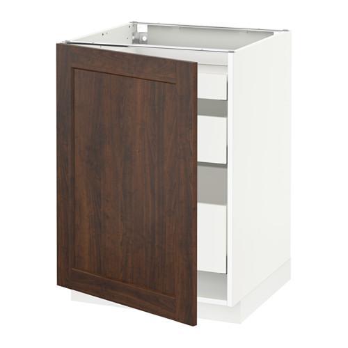 МЕТОД / МАКСИМЕРА Напольный шкаф с 1двр/3ящ - 60x60 см, Эдсерум под дерево коричневый, белый