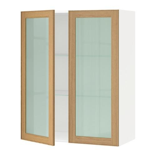 МЕТОД Навесной шкаф с полками/2 стекл дв - 80x100 см, Экестад дуб, белый