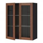 МЕТОД Навесной шкаф с полками/2 стекл дв - 80x100 см, Филипстад коричневый, под дерево черный