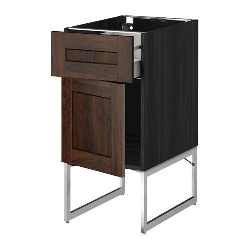 МЕТОД / МАКСИМЕРА Напольный шкаф с ящиком/дверью - 40x60x60 см, Эдсерум под дерево коричневый, под дерево черный