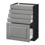МЕТОД / МАКСИМЕРА Напольный шкаф с 5 ящиками - 60x37 см, Будбин серый, под дерево черный