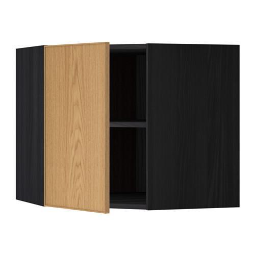 МЕТОД Угловой навесной шкаф с полками - 68x60 см, Экестад дуб, под дерево черный